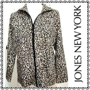 {Jones New York}cheetah zipup jacket/sweatshirt,1X